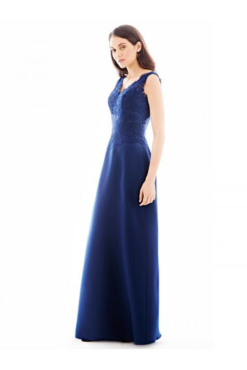 Fashion V Neck Lace Bodice A-line Blue Long Chiffon Bridesmaid Dress