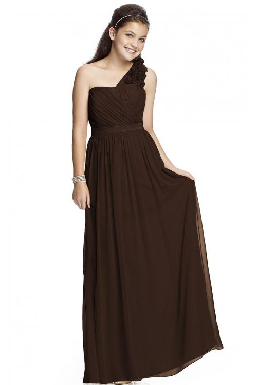 One Shoulder A-line Natural Chiffon Zipper Bridesmaid Dresses