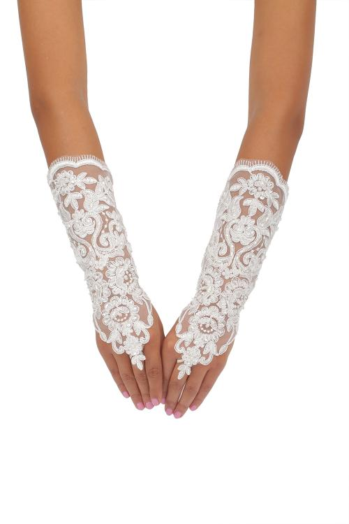Long Ivory Fingerless Daimond Embroider Tulle Wedding Gloves 8BL
