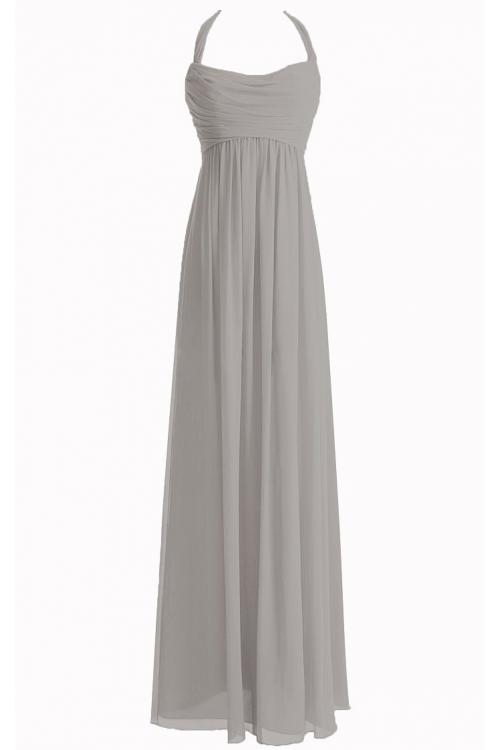 Chiffon Floor-length Natural Halter Zipper Bridesmaid Dresses