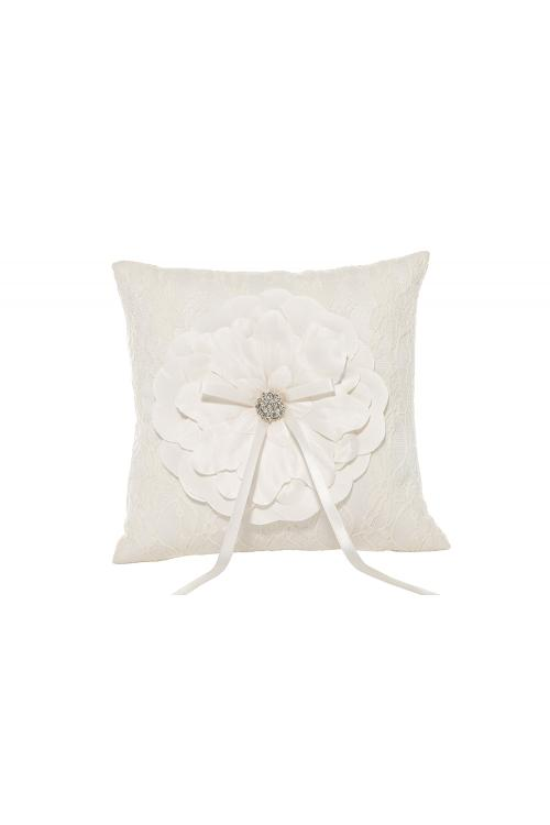 Special Ivory Wedding Ring Pillow With Folwer Embroider 21*21CM