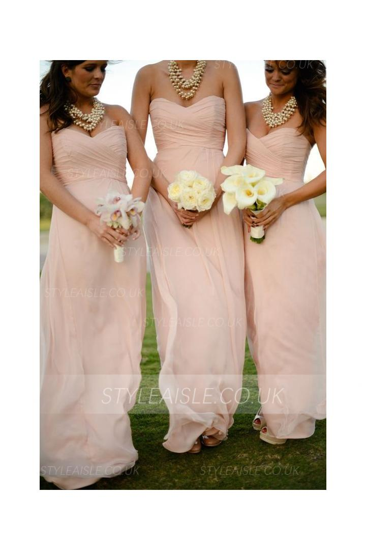 Classical Strapless Sweetheart Pleated Chiffon Long Bridesmaid Dress