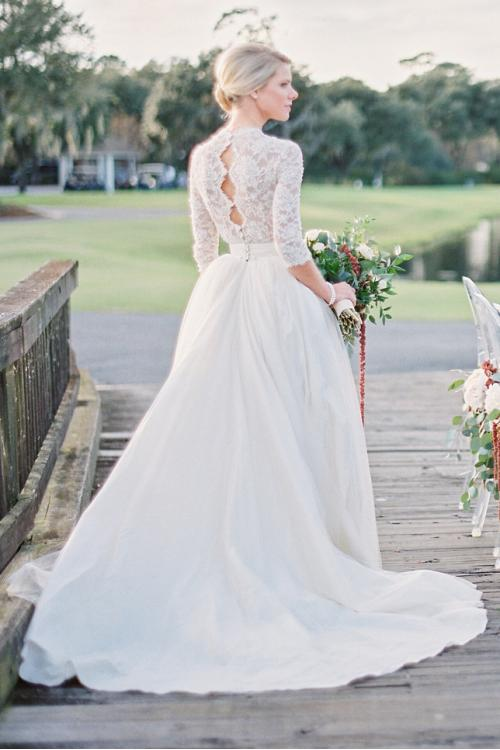 Lace Long Sleeve Scalloped Ball Gown Tulle overlay Satin Wedding Dress