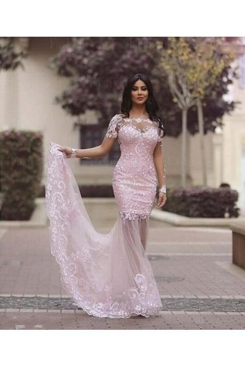 Long Sleeve Illusion Neck Long Blush Tulle Sheer Back Celebrity Prom Dress