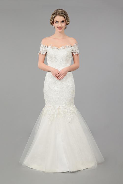 Mermaid Off-the-shoulder Short Sleeve Lace Sweep/Brush Train Wedding Dresses