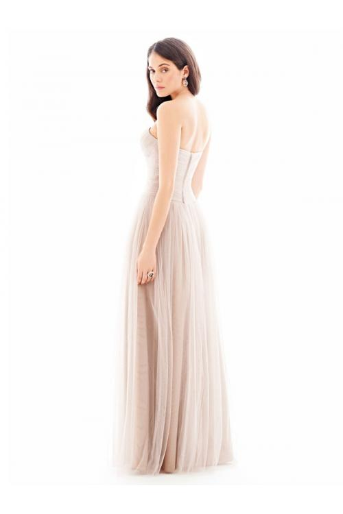 Classical Blush Strapless Sweetheart Pleated Tulle Bridesmaid Dress