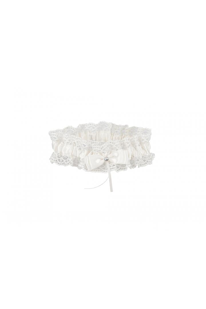 Embroidered White And Blue Girl's Garter With Butterfly Knot And Pearl 34*66CM