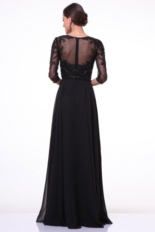Illusion Jewel Neck Lace Bodice A-line Chiffon Prom Dress with3/4 Sleeves