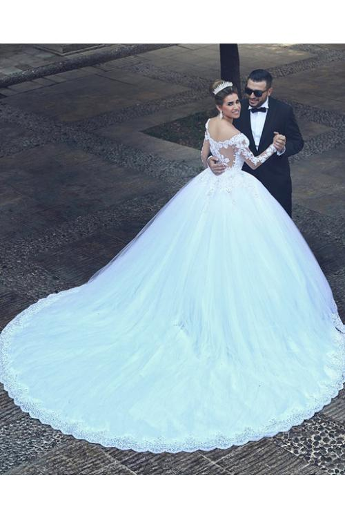 Modest Arabic Ball Gown Long Sleeve Lace overlat Tulle Wedding Dress