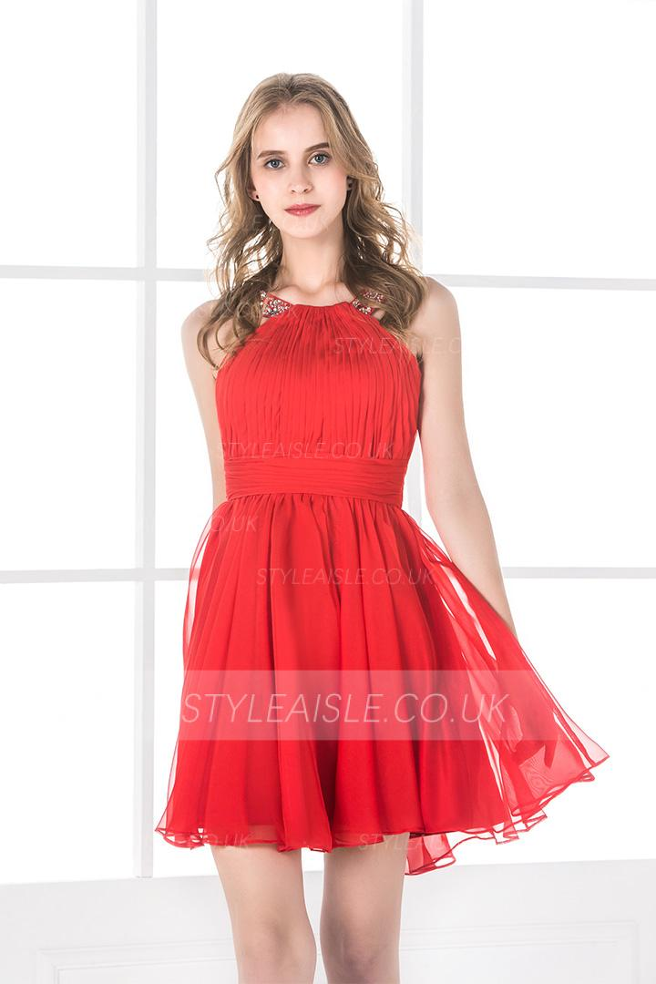 A-line Jewel Sleeveless Beading Pleated Short/Mini Prom Dress