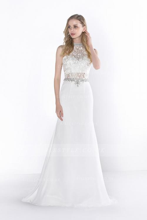 bateau sleeveless beading sequins floor-length chiffon evening dresses
