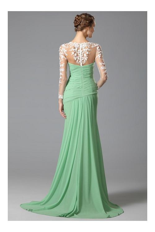 long sleeve lacy looks ruching sweep/brush train split chiffon evening dresses long