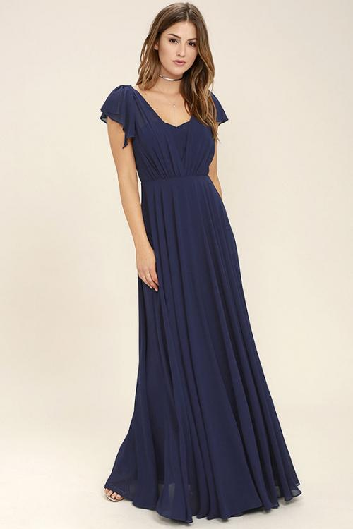 Flutter Sleeves A-line Navy Blue Long Chiffon Bridesmaid Dress