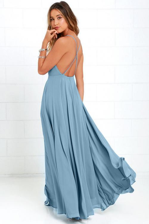 Sexy Backless Long A-line Chiffon Bridesmaid Dress with Spaghetti Straps