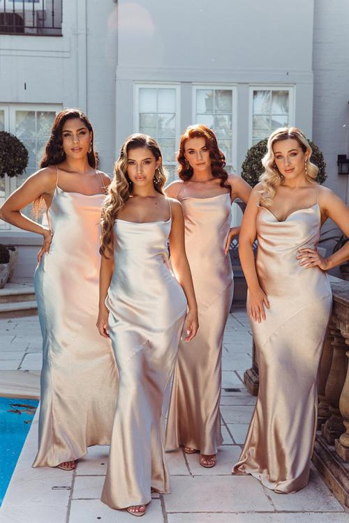 Simple Sheath/Column Spaghetti Straps Sleeveless Floor-length Long Charmeuse Bridesmaid Dresses