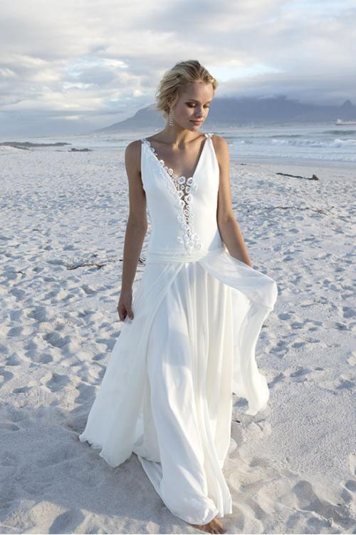 V Neck A-line Ivory Chiffon Wedding Dress with Lace
