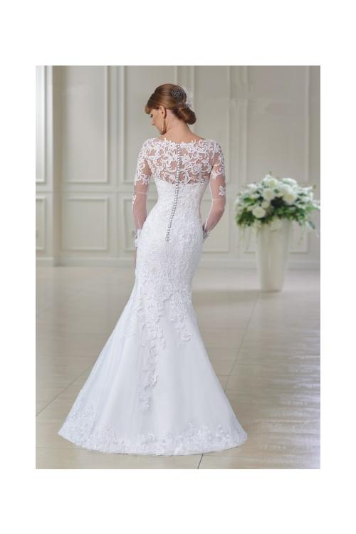 Deliacate Long Sleeve Lace Trumpet Wedding Dress