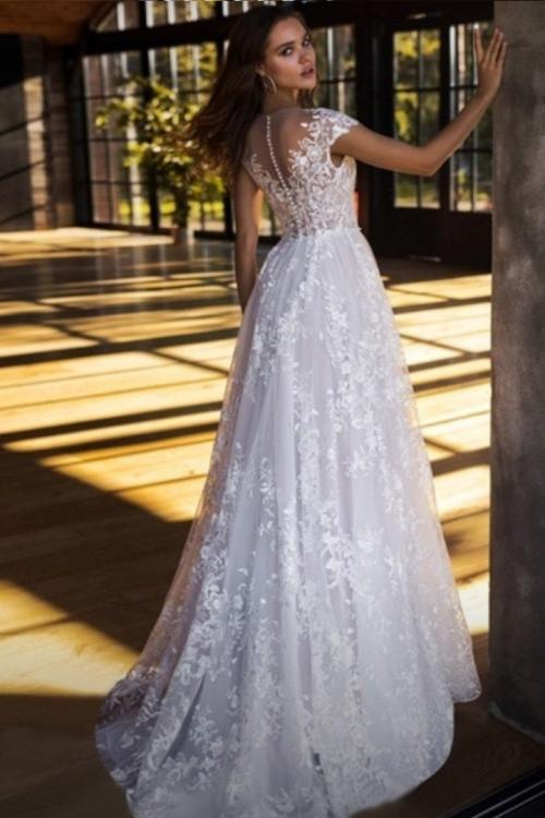 Elegant Illusion Jewel Neckline Short Sleeve Appliques Sweep Train Long Lace Wedding Dresses