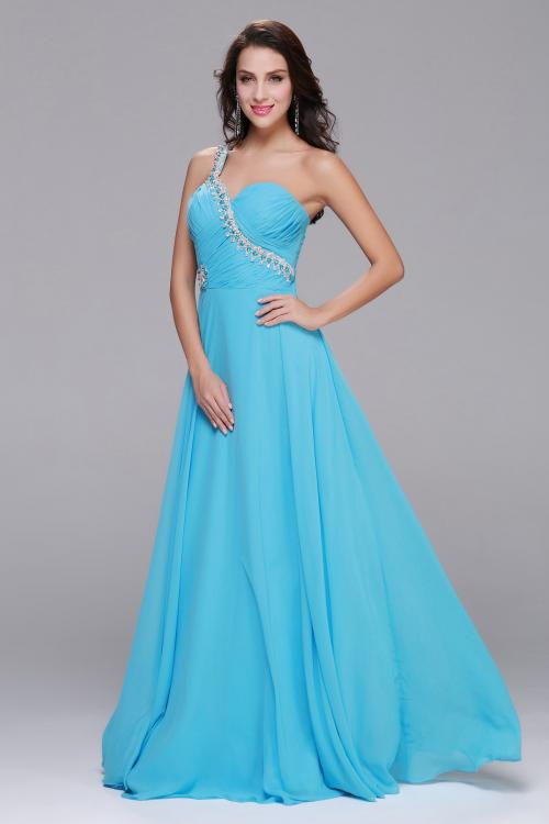 Sleeveless One Shoulder Beading Long Blue Chiffon Prom Dress