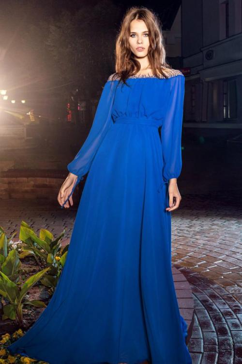 A-line Bateau Neckline Long Sleeves Beading Floor-length Long Chiffon Cocktail Dresses with Buttons Back