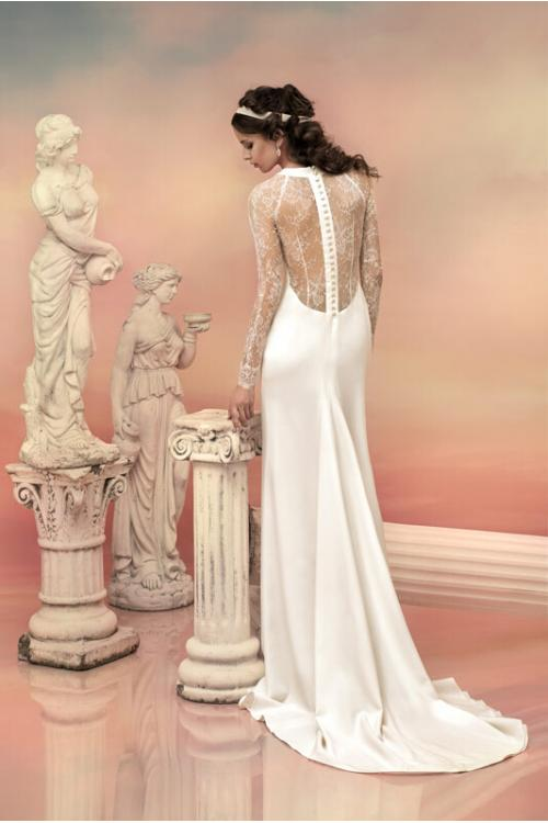 Vinatge Lace Pattern Long Sleeved Sheath Satin Wedding Dress