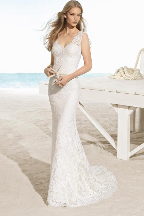 Slim Fitted V Neck Backless Lace Wedding Dress
