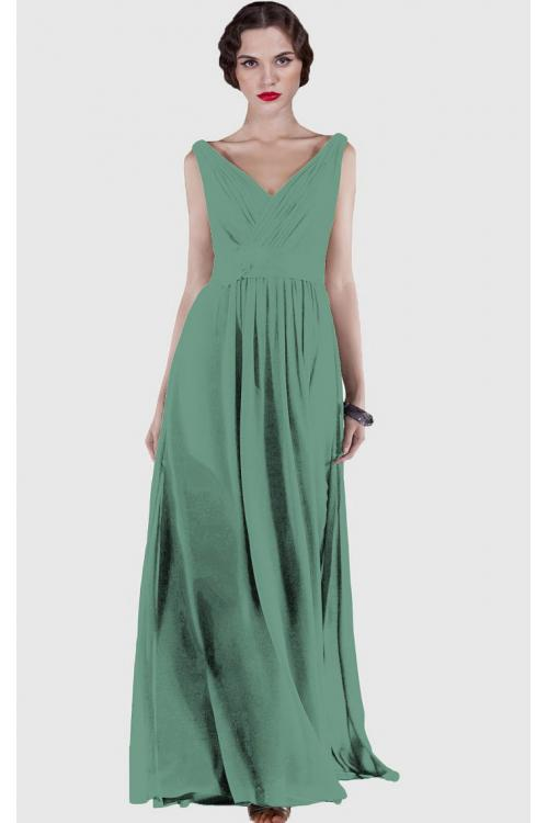 V-neck Natural Chiffon Floor-length A-line Bridesmaid Dresses