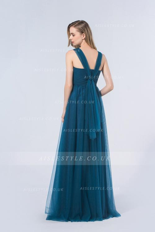 Tulle Zipper V-neck Floor-length Natural Bridesmaid Dresses