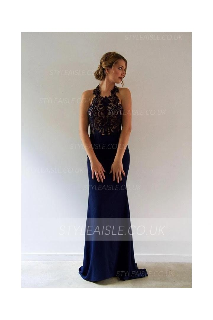 Navy Blue Sheath/Column Halter Neck Sleeveless Lace Sweep/Brush Train Long Chiffon Prom Dress