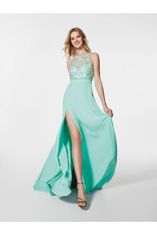 Sparkly Sleeveless A-line Turquoise Long Chiffon Prom Dress with Slit