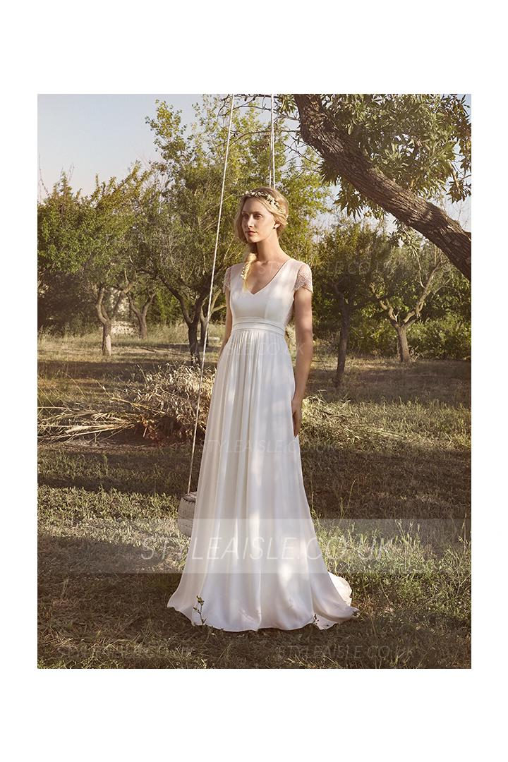 Beach Cap Sleeve Keyhole Back Long A-line Chiffon Wedding Dress