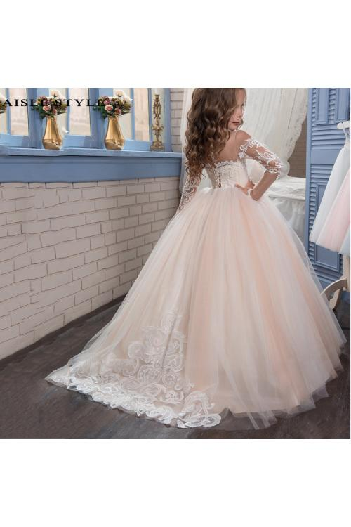 Lovely Blush Boho Inspired Lace Overlay Long Sleeved Off Shoulder Ball Gown Flower Girl Pageant Dress