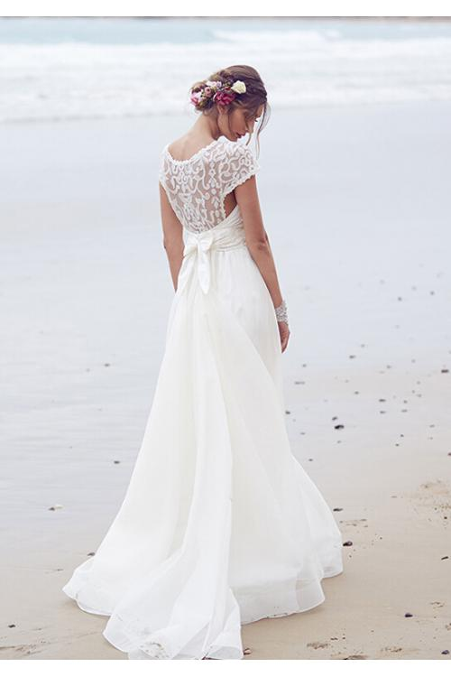 Vinatge Lace Top Bateau Neck Long Organza Wedding Dress