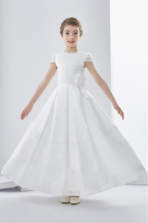 Short Sleeve Lace Flowers A-line First Communion Dress