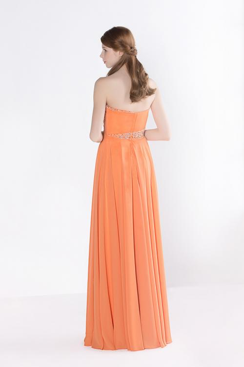 A-line Strapless Beading Pleated Long Chiffon Prom Dress