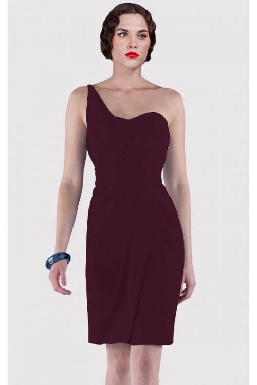 Sheath Natural Sleeveless Knee-length One Shoulder Bridesmaid Dresses