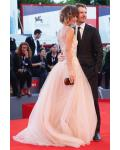 Elegant Gabriella Pession in Alberta Ferretti Illusion Neck Lace Appliques Blush Tulle Prom Dress