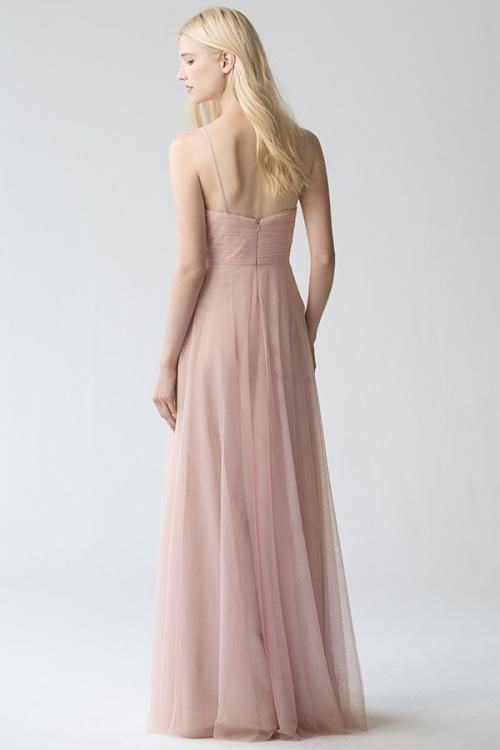 Sleeveless V Neck A-line Long Blush Tulle Bridesmaid Dress with Lace Appliques