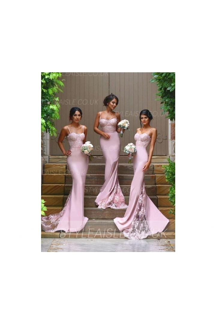 Popular Spaghetti Straps Long Jersey Bridesmaid Dress with Lace