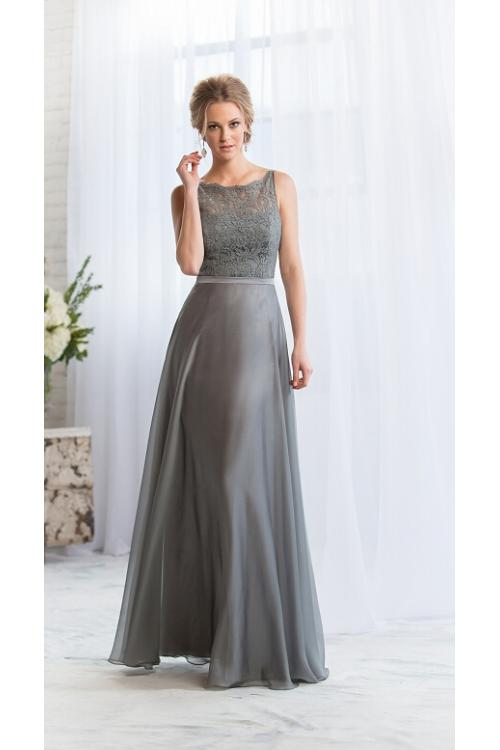 Exquisite Bateaul Neck Sleeveless A-line Chiffon Bridesmaid Dress
