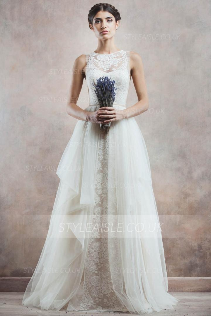 Sleeeveless Illusion Neck Lace Bodice Ball Gown Cascaded Tulle Wedding Dress