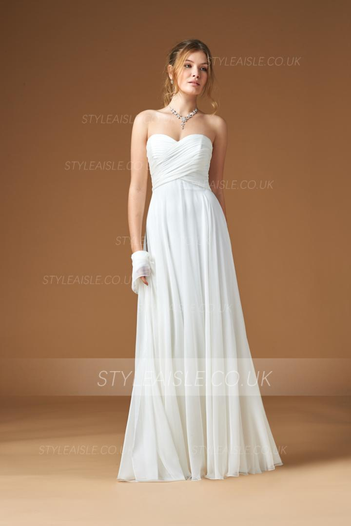 Simple Strapless Sweetheart Pleatded Beach Chiffon Wedding Dress