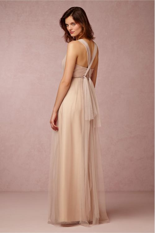 Vintage Shoulder Straps Ruched Bodice Long Champagne Tulle Bridesmaid Dress