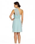 One Shoulder Sleeveless Chiffon A-line Mint Bridesmaid Dresses