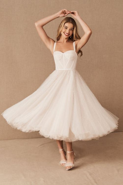 A-line Shoulder Straps Sweetheart Neckline Sleeveless Tea-length Short Tulle Wedding Dresses