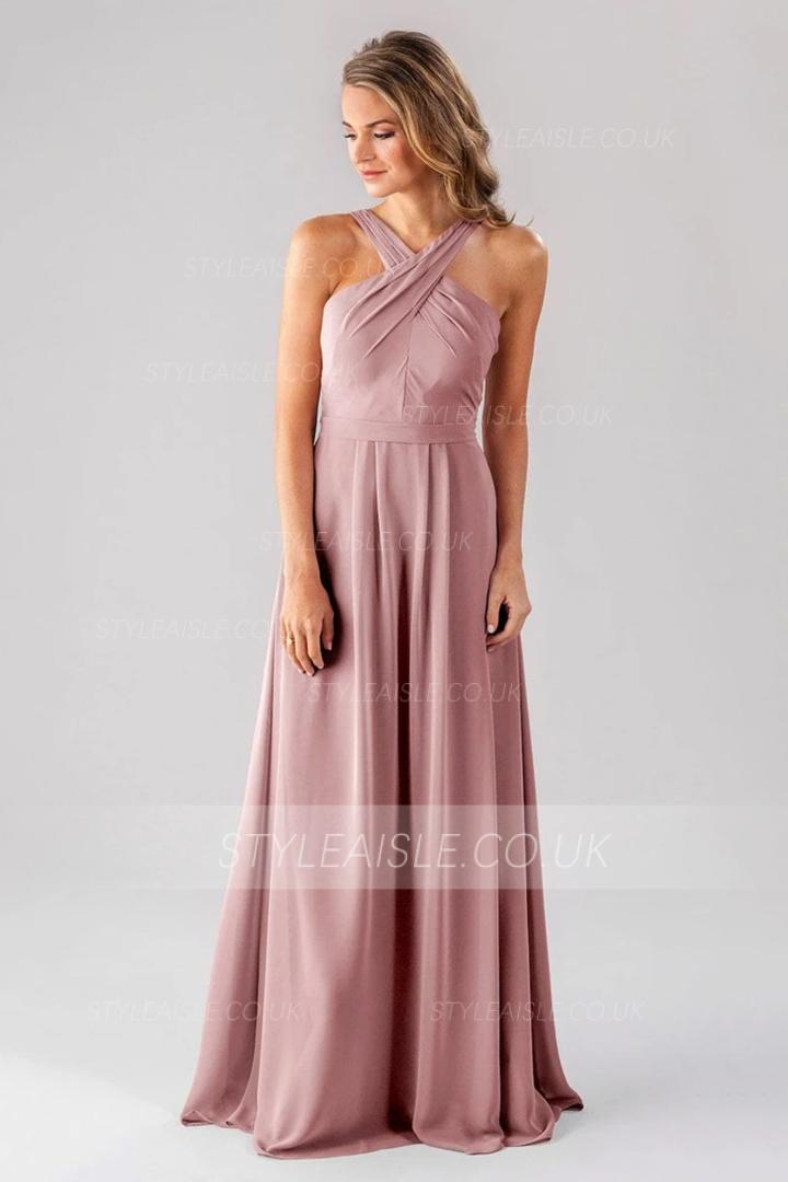 A-line Shoulder Straps Sleeveless Ruching Floor-length Long Chiffon Criss-cross Neckline Bridesmaid Dresses