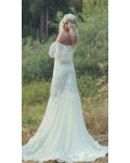 Casual Off Shoulder Boho Lace Ivory Rustic Wedding Dress