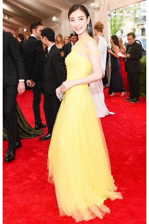 A-line One Shoulder Met Gala 2017 Inspired Yellow Prom Dress