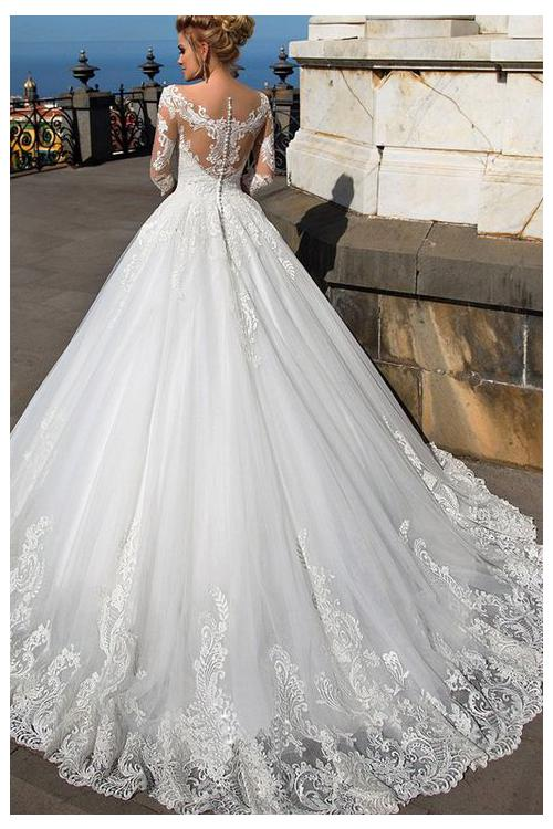 Illusion Neck Off Shoulder Long Lace Embroidery White Tulle Wedding Dress