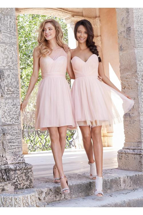 Short Pink Knee Length Tulle Rustic Bridesmaid Dress